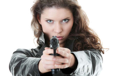 Woman With Handgun isolated on white background photo