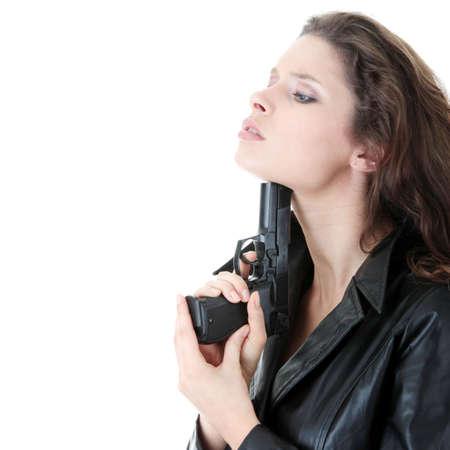 dangerous love: Suicide girl with gun isolato su sfondo bianco