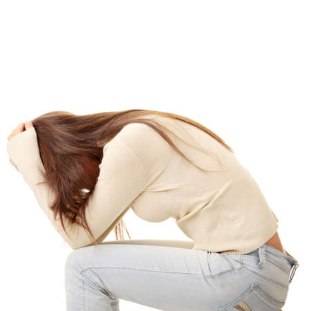 Teenage girl depression - lost love - isolated on white background Stock Photo