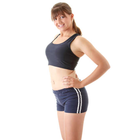 Relaxed fit woman doing exercise, isolated on white background. photo