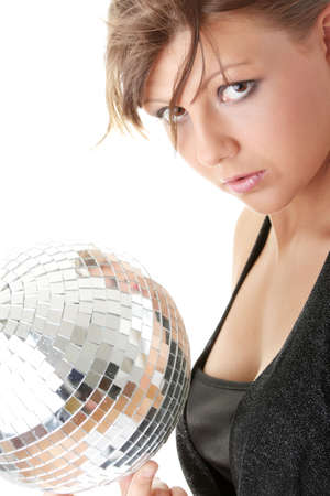 Casual showgirl girl with mirror ball background photo