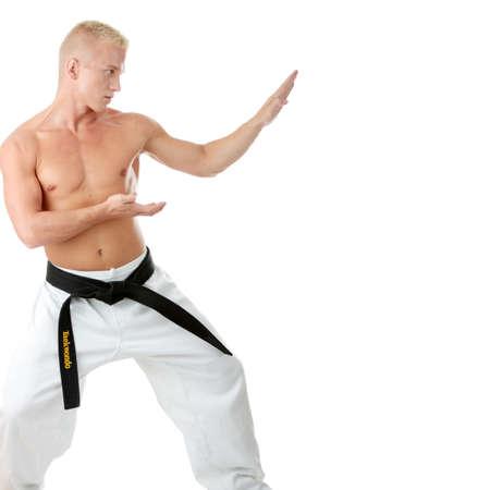 jujitsu: Taekwondo fighter isolated on white background