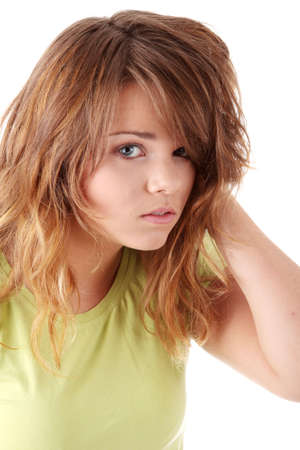 Young beautiful female teenager portrait isolated Stock Photo - 5393963