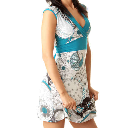 rejoicing: Young woman rejoicing in new dress Stock Photo