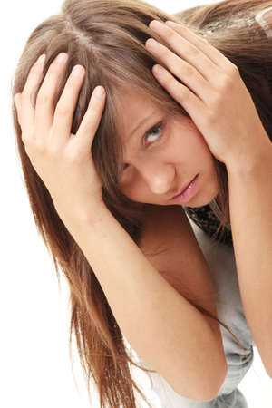 Teen girl frighten, covering her face - abuse crime concept photo