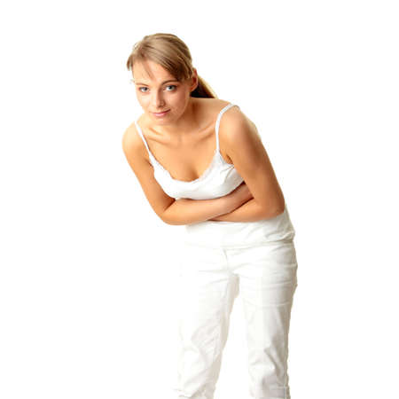 Woman with stomach issues isolated on white background Stock Photo - 5400965