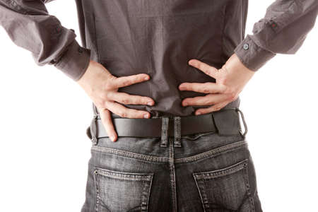 pained: Man with back pain isolated