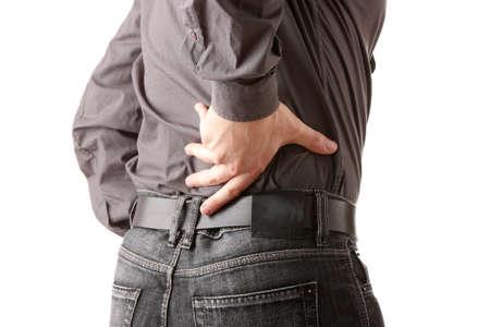 man in black shirt having back ache  isolated on white