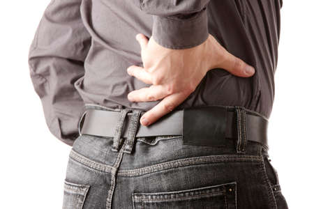 dolor de espalda: Hombre con dolor de espalda aislado