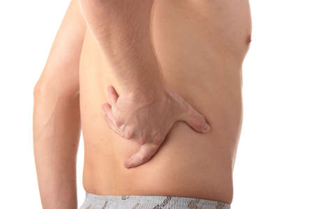 Man with back pain isolated Stock Photo - 5387155