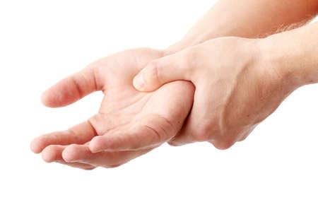 dolor de pecho: Hombre con la mano - el concepto del dolor Foto de archivo