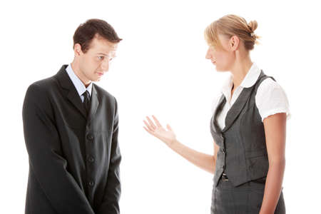 Work Colleagues arguing on white background Stock Photo - 5447534