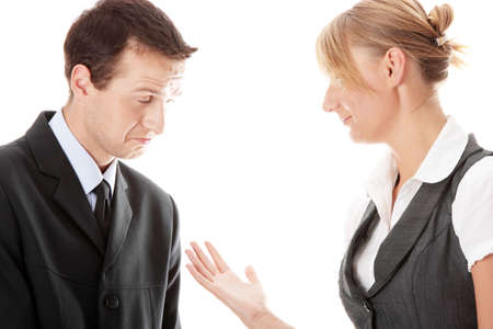 Work Colleagues arguing on white background Stock Photo - 5447591