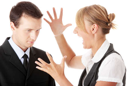 Work Colleagues arguing on white background Stock Photo - 5447490