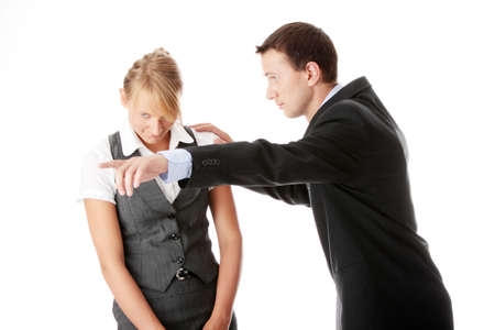 Work Colleagues arguing on white background photo
