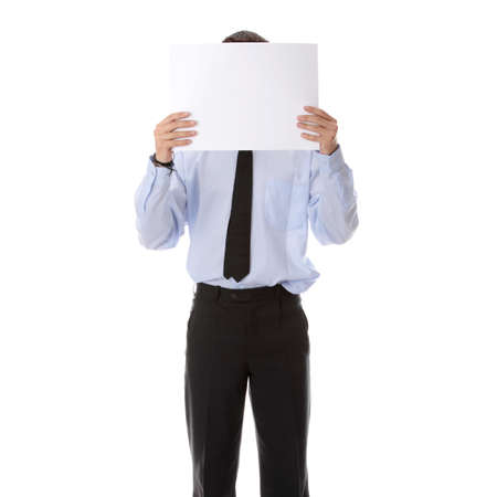 A businessman with a blank paper in his face isolated on white Stock Photo - 5387199