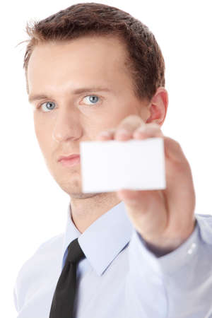 Businessman holding blank card isolated photo