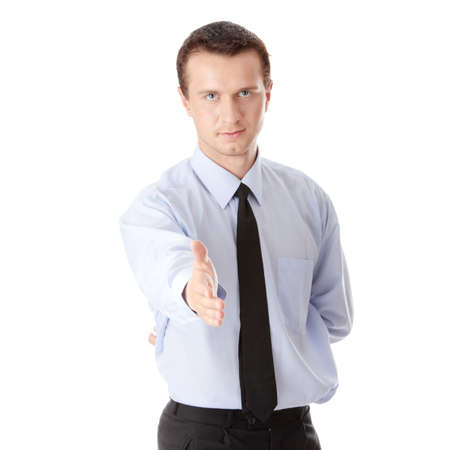 Young business man ready to set a deal over white background Stock Photo - 5435313