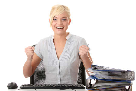 Young woman working with computer - anger expression photo
