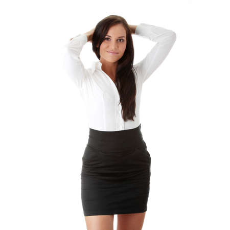 sexy businesswoman: Young beautiful businesswoman isoalted on white background