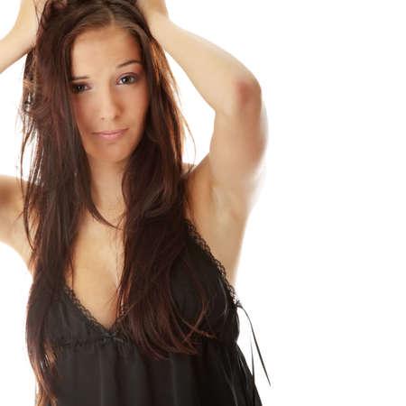 Young beautiful caucasian woman in black sexy underwear Stock Photo - 5804720