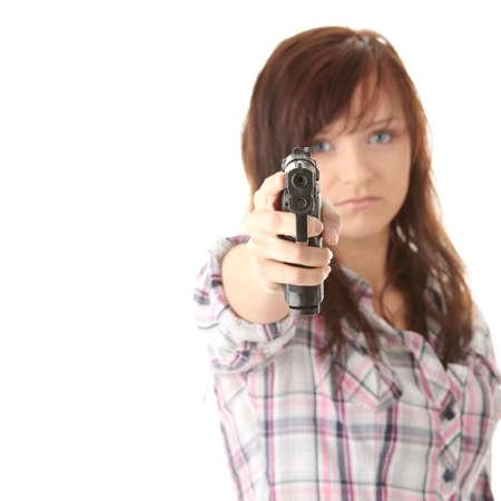 venganza: Venganza de la joven mujer aislado en blanco