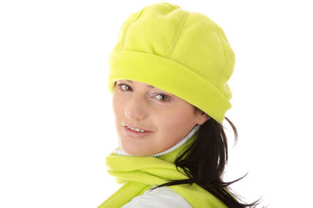 Casual young women in winter hat isolated photo