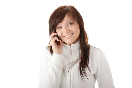 Young caucasian woman is calling with a mobilephone isolated  photo