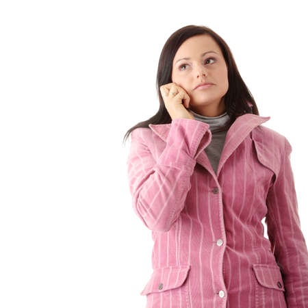 Young caucasian woman in winter pink coat talking by mobilephone, isolated Stock Photo - 5759130