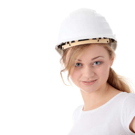 Architect woman in white helmet isolated on white background photo