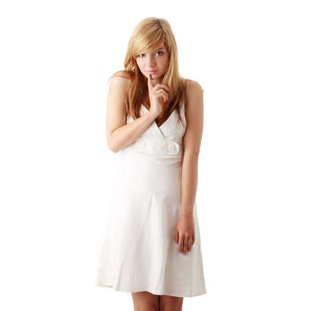 only teenagers: Young beautiful blond teen girl in white dress isolated Stock Photo