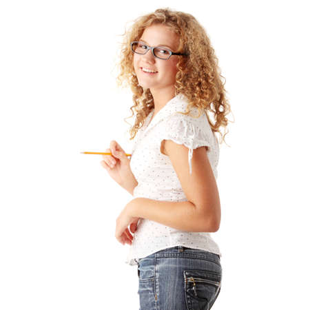 overweight students: Beautiful pudgy caucasian student girl isolated on white background