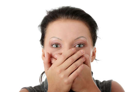 Young businesswoman covering her mouth with hands  Stock Photo - 5931190