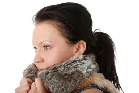 eskimo woman: Portrait of a beautiful woman wearing winter fur Stock Photo