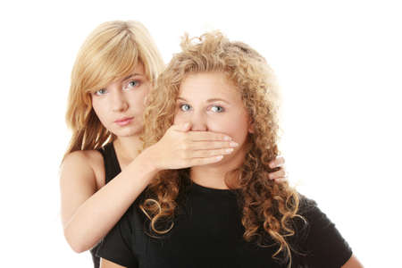 mouth closed: dont speak - censorship concept Stock Photo