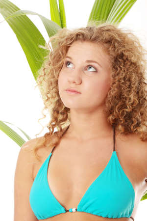 Teen girl in bikini - close up portrait isolated photo