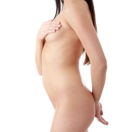 femme se deshabille: Belles nues corps f�minin isol� sur fond blanc