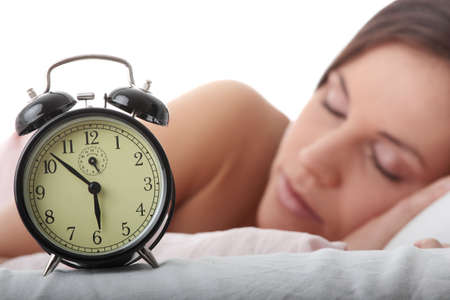 waking: Beautiful Caucasian woman waking up in the morning.  Stock Photo