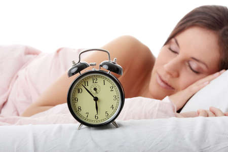 morning routine: Beautiful Caucasian woman waking up in the morning.  Stock Photo