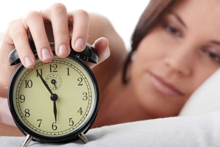 up wake: Beautiful Caucasian woman waking up in the morning.  Stock Photo