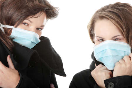 A glamorous models wearing a mask to prevent Swine Flu infection.  photo