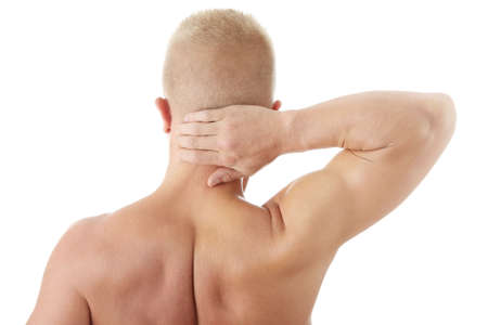 Man holding body like he is sore isolated Stock Photo - 6020285