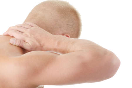 Man holding body like he is sore isolated Stock Photo - 6020196