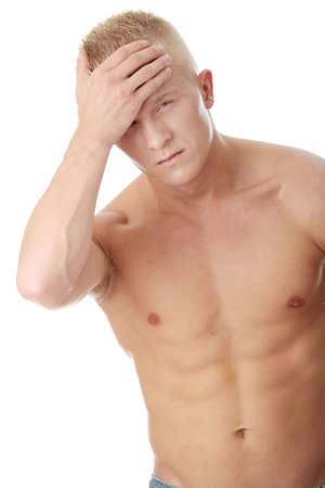 Men with headache or migraine isolated Stock Photo - 6019457
