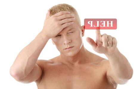 male headache: Hombres con dolor de cabeza o migra�as pidiendo ayudan por presing bot�n en abstracto de la pantalla