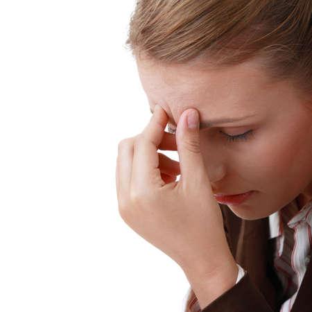 dolor de cabeza: Mujer con severos de dolor de cabeza de migra�a de explotaci�n las manos a la cabeza