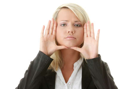 Businesswoman framing her face with her hands, isolated on white background Stock Photo - 6020721