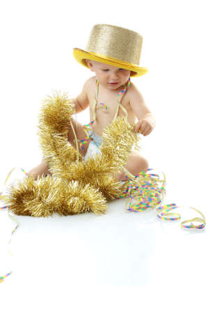 Image of cute baby with new year's decoration over white backround Stock Photo - 6019371