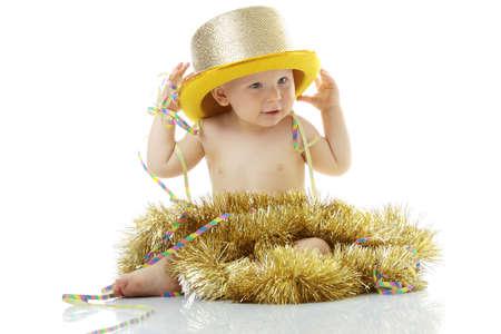 baby kerst: Happy dat New Year Baby geïsoleerd op witte achtergrond