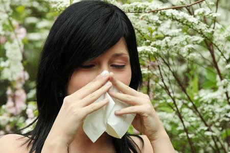 allergy: Pretty woman sneeze. Allergy season